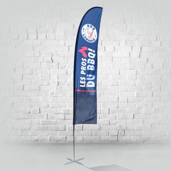 grand drapeau beach flag steight avec base en croix