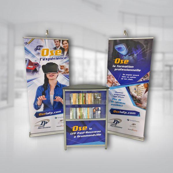 comptoir de kiosque et roll-up promotionnels pour la CFP