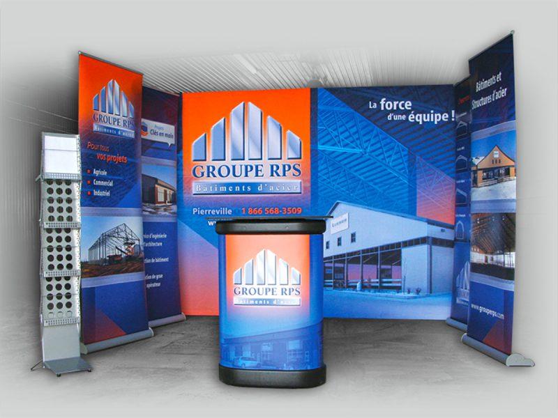 kiosque de stand portatif, roll-up et caisson pour exposition