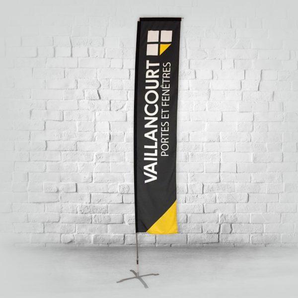 grand beach flag de 14 pieds de forme rectangle avec sa base