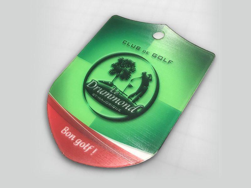 impression de bag-TAG de golf en acrylique découpé