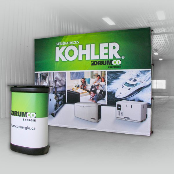 un Kiosque Stand-up pour faire da la promotion dans les salon d'exposition