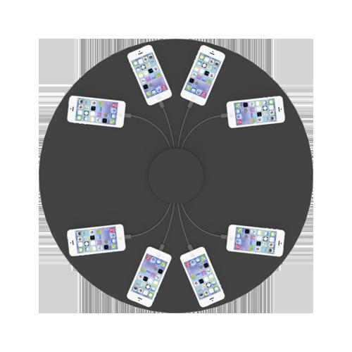 disposition des téléphones sur le comptoir d'exposition flex-3