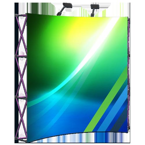 voici le kiosque pop-up vue de devant avec nos couleurs