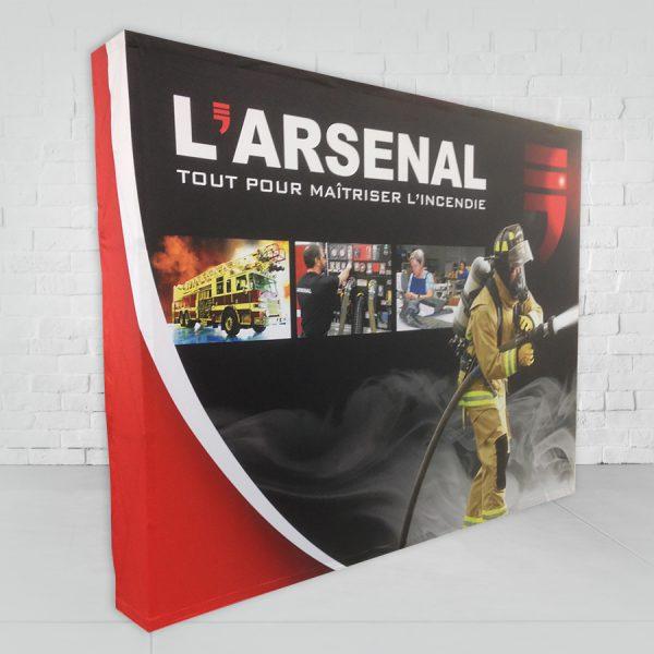 conception d'un kiosque d'exposition stand-up pour une firme d'incendie