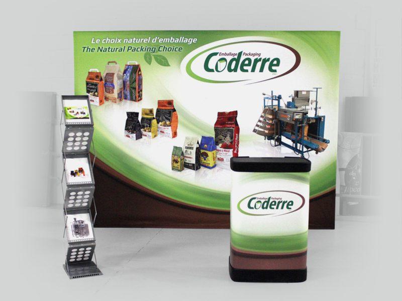 ensemble de produits d'exposition incluant le stand-up, un caisson et un présentoir à littérature z-doc