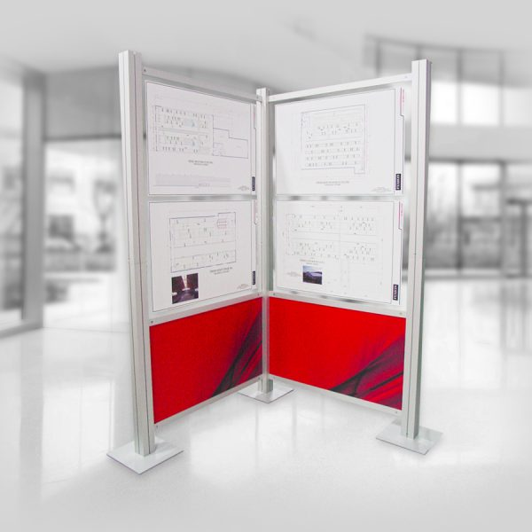 structure de kiosque modulaire Octanorm en coin