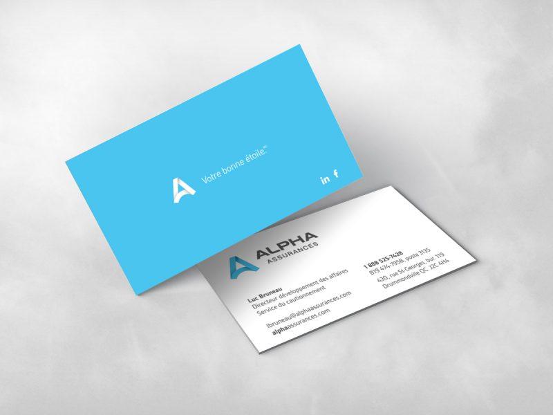 une carte d'affaire bleu, imprimée des 2 cotés