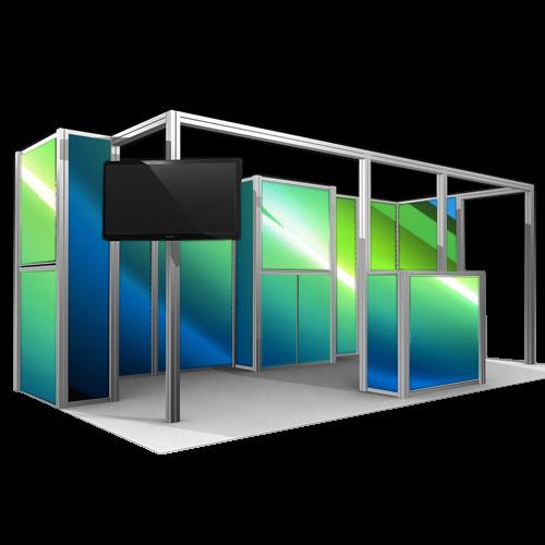 autre configuration du kiosque en aluminium Octanorm