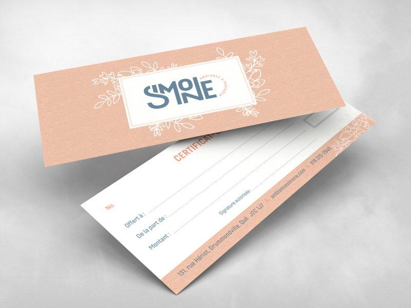 nous offrons la conception et l'impression de certificat cadeau
