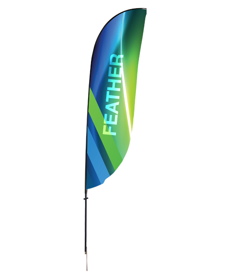 drapeau beach flag de type plume aux couleurs de notre compagnie