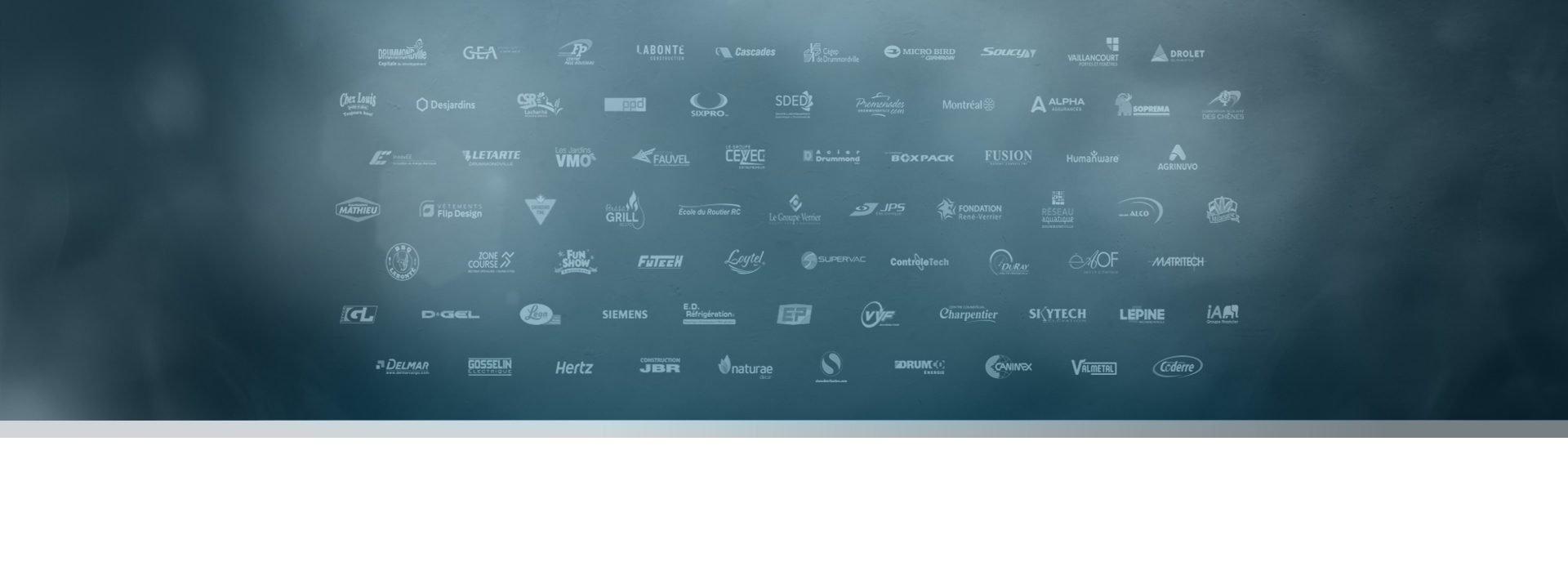 mur de fond avec les logos de nos clients